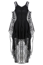 Load image into Gallery viewer, DW166 Black Gothic Elegant Lace High-Low Dress - Gothlolibeauty