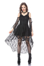 Load image into Gallery viewer, DW166 Black Gothic Elegant Lace High-Low Dress