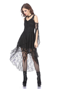 DW166 Black Gothic Elegant Lace High-Low Dress - Gothlolibeauty