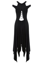 Load image into Gallery viewer, DW170 Black gothic knitted off-shoulder dress with irregular hem