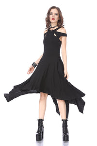 DW170 Black gothic knitted off-shoulder dress with irregular hem - Gothlolibeauty