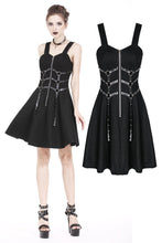 Load image into Gallery viewer, DW172 Punk elastic dress with six rings and eyelet leather strap design