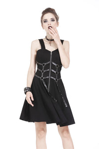 DW172 Punk elastic dress with six rings and eyelet leather strap design
