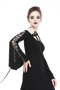 DW174 Punk elastic dress with variant star design and sexy rope sleeves - Gothlolibeauty