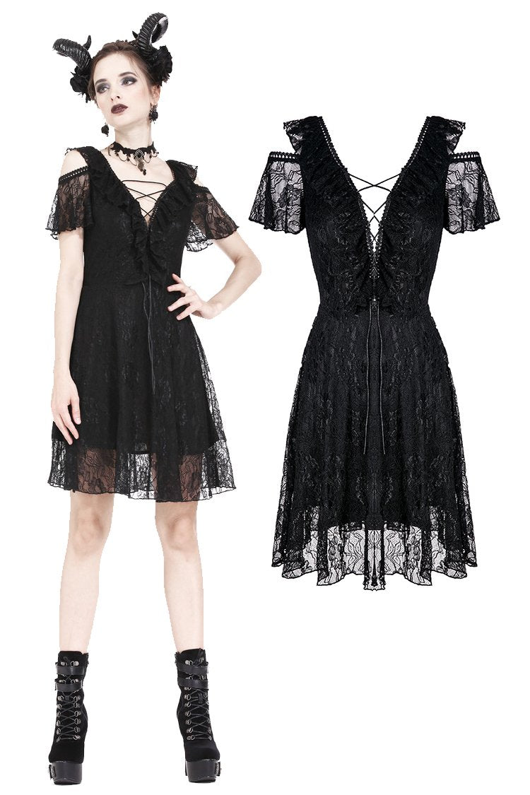 Gothic Black daily lace dress with off Shoulder DW178 - Gothlolibeauty