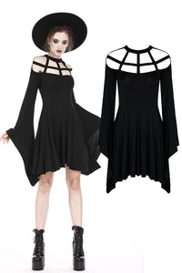 DW183 Punk knitted dress with mimic spider web shape design and big kimono sleeves - Gothlolibeauty