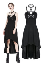 Load image into Gallery viewer, DW184 Punk knitted high-low dress with leather star across neck