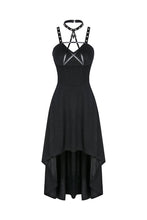 Load image into Gallery viewer, DW184 Punk knitted high-low dress with leather star across neck - Gothlolibeauty