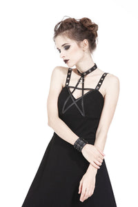 DW184 Punk knitted high-low dress with leather star across neck - Gothlolibeauty