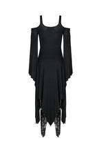 Load image into Gallery viewer, DW185 Gothic knitted long dress with irregular hem and hooked rope designs - Gothlolibeauty