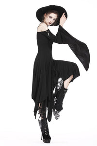 DW185 Gothic knitted long dress with irregular hem and hooked rope designs - Gothlolibeauty