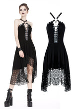 Load image into Gallery viewer, Punk knitted dress with net pattern hem and sexy eyelet rope design DW189 - Gothlolibeauty
