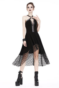 Punk knitted dress with net pattern hem and sexy eyelet rope design DW189 - Gothlolibeauty