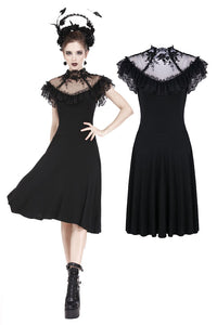 DW197 Gothic knitted dress with sexy rose flower net on top - Gothlolibeauty