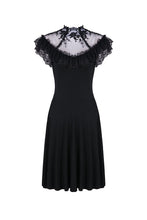 Load image into Gallery viewer, Gothic knitted dress with sexy rose flower net on top DW197 - Gothlolibeauty