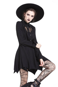 DW205 Gothic sexy mesh heart pleated collar bow dress