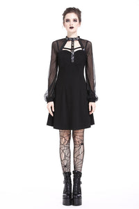 Punk mesh sleeve halter dress DW207 - Gothlolibeauty