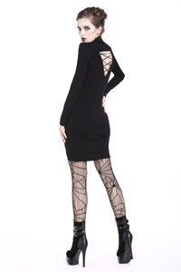 Ladies punk hollow shouler slit hem midi dress DW209 - Gothlolibeauty