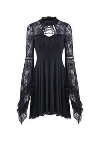 Elegant gothic lace-up lacey knitted T-shirt DW210 - Gothlolibeauty