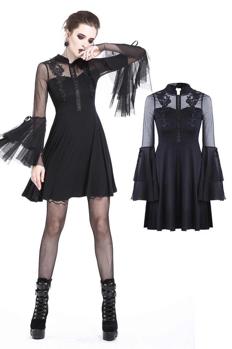 Cute gothic flower bust layered sleeve midi dress DW216 - Gothlolibeauty