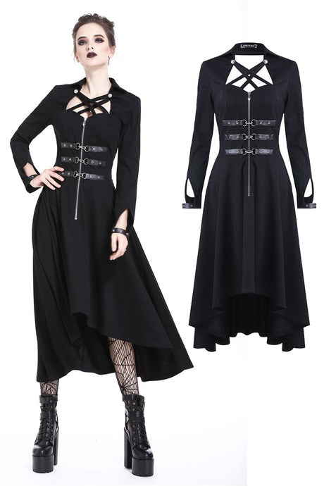 DW219 Punk buckle zippered long dress
