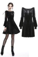 Load image into Gallery viewer, Gothic lace-up velvet midi dress DW224 - Gothlolibeauty