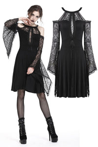 Gothic slit bust lace sleeve knitted dress DW227 - Gothlolibeauty