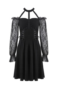 Gothic lace bishop sleeve lace-up dress DW228 - Gothlolibeauty