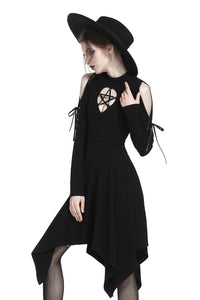 DARK IN LOVE Punk hollow star chest dress with sexy ribbon sleeves  DW233 - Gothlolibeauty