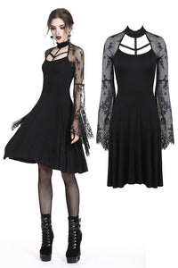 Gothic sexy lace sleeves midi dress DW235 - Gothlolibeauty