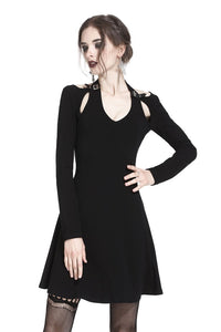 Punk crossed neckline sexy midi dress DW238 - Gothlolibeauty