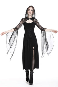 Gothic lacey hooded side slits maxi dress DW244 - Gothlolibeauty