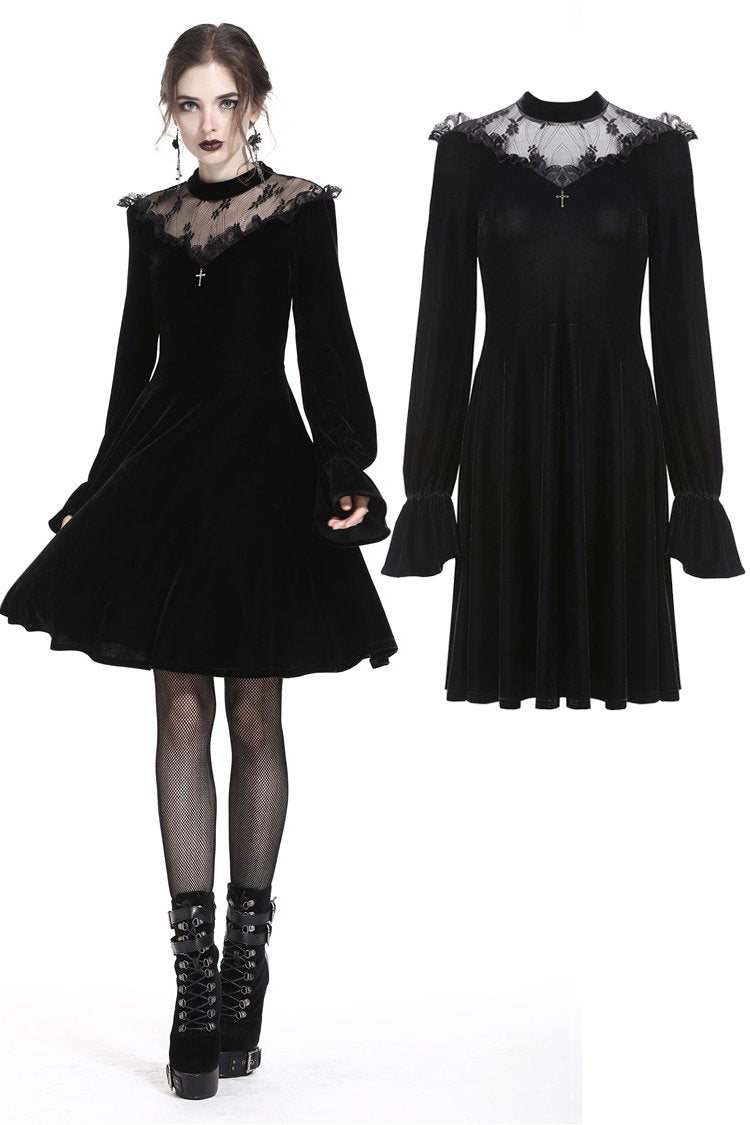 Gothic cross lacey velvet dress DW245 - Gothlolibeauty