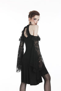 Black lady lace knitted off-shoulders dress DW246 - Gothlolibeauty