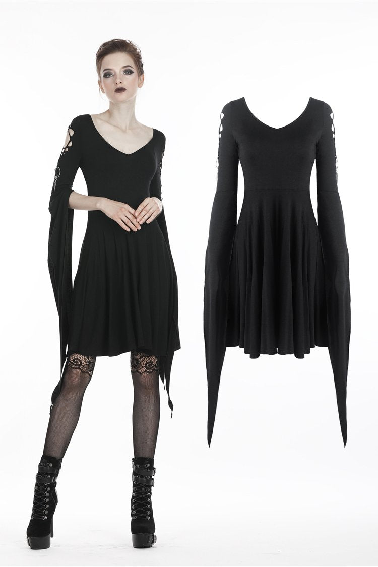 Punk dress with long hooked flower sleeves DW252 - Gothlolibeauty