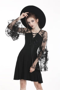 Black sexy star mesh casual dress DW261 - Gothlolibeauty