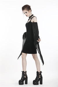 Gothic sexy tulle sleeves dress DW262 - Gothlolibeauty