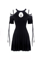 Load image into Gallery viewer, Black lace up shoulders summer dress DW268 - Gothlolibeauty