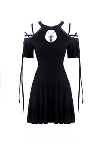 Black lace up shoulders summer dress DW268 - Gothlolibeauty