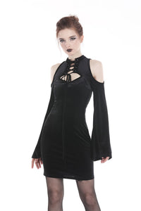 Gothic lace up neck dress with sexy hollow shoulders DW269 - Gothlolibeauty