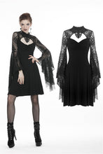 Load image into Gallery viewer, Gothic flower neck lace mesh sleeves dress DW280 - Gothlolibeauty