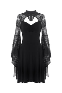 Gothic flower neck lace mesh sleeves dress DW280 - Gothlolibeauty