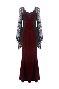 Gothic elegant red velvet lace long dress DW286 - Gothlolibeauty