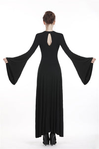 Punk rock long dress with rope and hollow chest DW295 - Gothlolibeauty