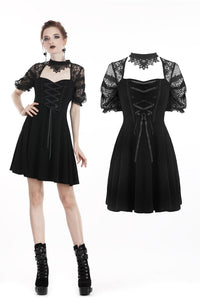 Black lolita lace up halter dress with necklace design DW298 - Gothlolibeauty