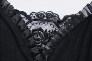 Black gothic dress with lace sleeves DW317 - Gothlolibeauty