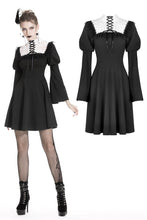 Load image into Gallery viewer, Cute goth outfits chiffon dress with white lace up chest DW328 - Gothlolibeauty