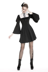 Cute goth outfits chiffon dress with white lace up chest DW328 - Gothlolibeauty