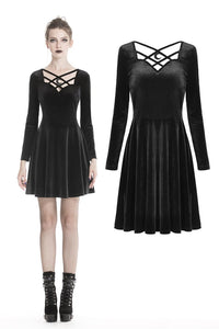 Gothic black casual long sleeves warm alternative dress DW334 - Gothlolibeauty