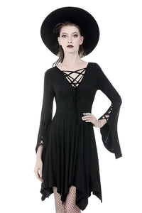 Gothic modol lace up chest midi dress DW345 - Gothlolibeauty